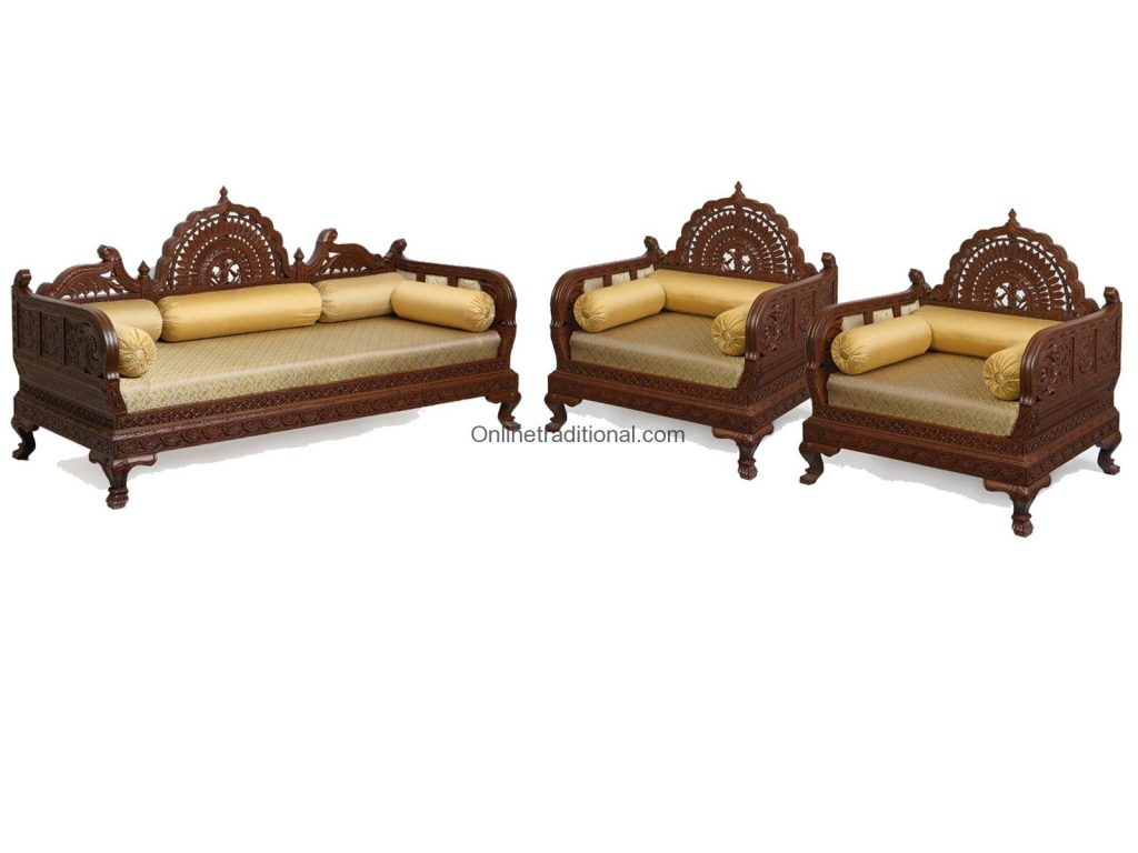 Design Carving Teak Wooden Maharaja Sofa Sets Pearl Handicrafts. Full resolution  pic, nominally Width 1024 Height 768 pixels, pic with #9B7630.