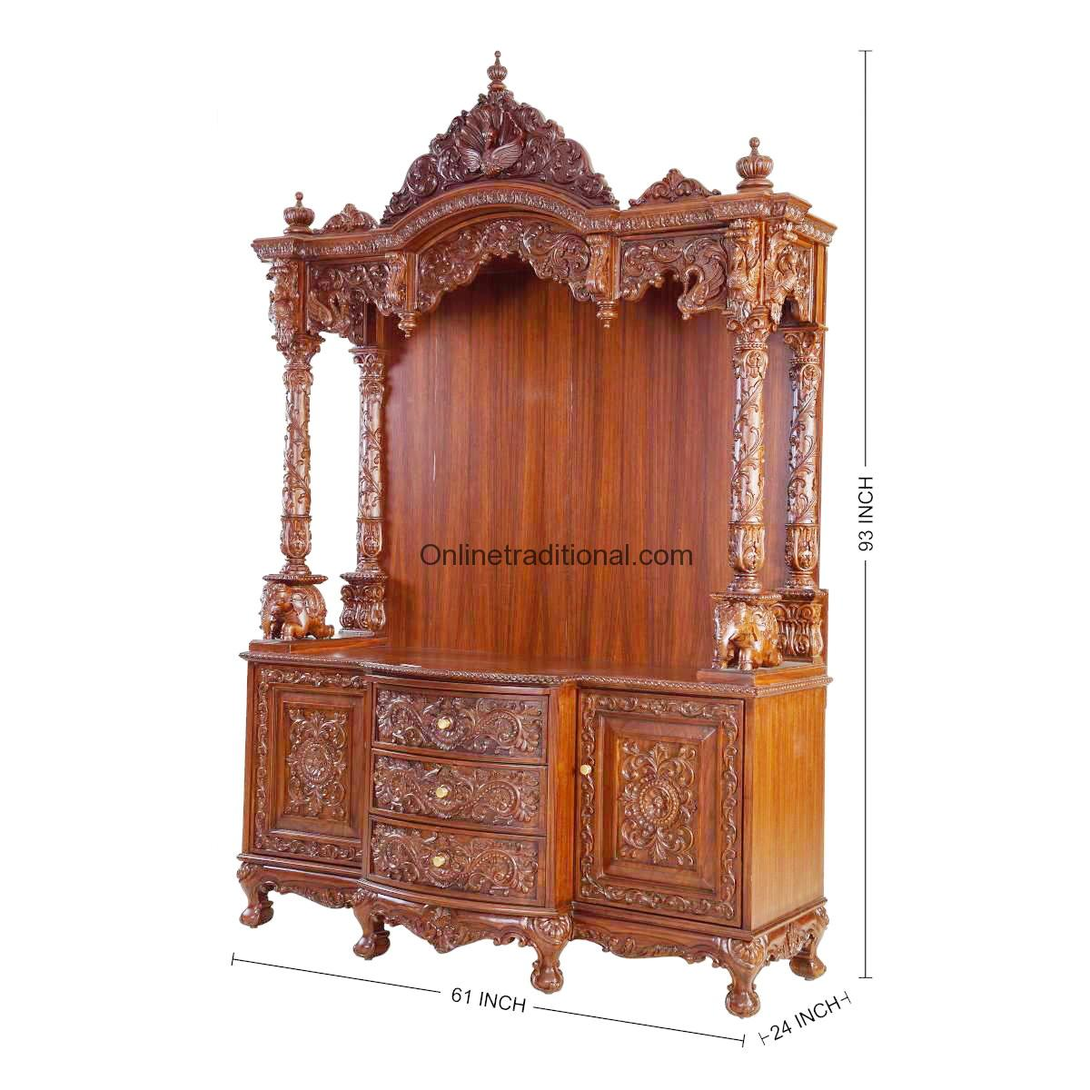 20 Mandir Designs For Indian Homes: Traditional Teak Wooden Temple/Mandir For Home In India