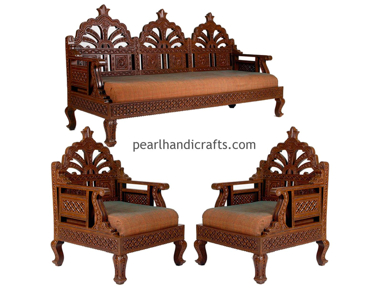 Carving circular rajasthani traditional teak wood sofa Sofa set india